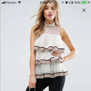 ASOS top in lace ruffles with tipping